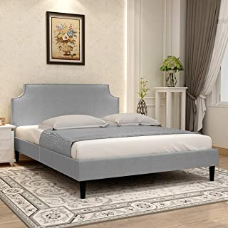 Upholstered Button Tufted Twin/Full/Queen Platform Bed with Headboard Strong Wood Slat Support Mattress Foundation Easy Assembly Blue/Grey/Pink (X-Queen, Light Gray)
