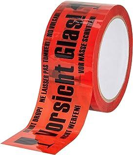 """baytronic PP Warn-Klebeband """"""""Vorsicht Glas"""""""" 66m x 50mm 32 rot 1x Rolle"""