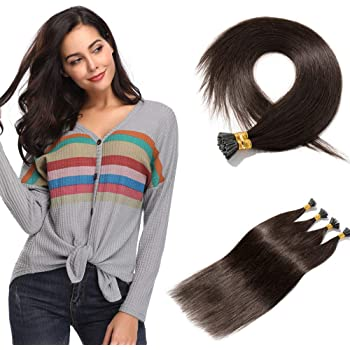 100 Strands/Pack I Tip Remy Human Hair Extensions Pre Bonded Keratin Stick In Hair Extensions Cold Fusion Hair Piece For Women Long Straight #2 Dark Brown 16'' 50g