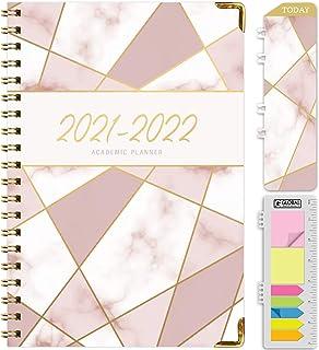 """برنامه ریز سال تحصیلی HARDCOVER 2021-2022: (ژوئن 2021 تا ژوئیه 2022) برنامه سالانه برنامه ریزی ماهانه روزانه 5.5 """"x8"""". نشانک ، پوشه جیبی و مجموعه یادداشت های مهم (مثلث موزاییک صورتی)"""