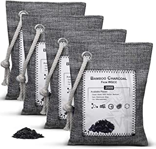 Bamboo Charcoal Air Purifying Bag 4 Pack Activated Charcoal Bags Odor Absorber 4x200g Nature Fresh Air Purifier Bags Smoke...