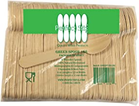 "Perfect Stix Green Spoon 158-250 Wooden Disposable Spoons, 6"" Length (Pack of 250)"