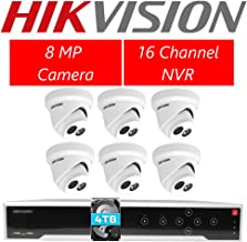 HIKVISION DS-7716NI-I4/16P 16CH POE NVR  with 6pcs DS-2CD2383G0-I 8.0MP 4K 4.0mm Turret Camera + 4TB Hard Drive Security Kit