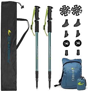 Daikoku. Bastones Trekking. 2 Bastones Senderismo Extensibles para Caminar. Ajustables 65cm-135cm Resistentes en Aluminio,...
