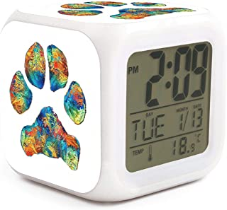 Colorful Dog Paw Print Alarm Clock Displays Time Date and Temperature Soft Nightlight for Kids Home Office Bedroom Heavy Sleepers