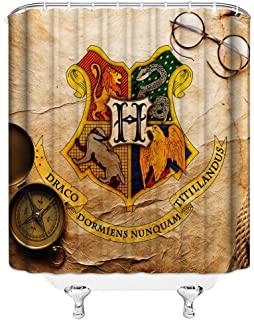 Harry Potter Shower Curtains Hogwarts Magic School Magic Logo Parchment Retro Glasses Bathroom Decor Waterproof Polyester Fabric Home Bath Accessories Shower Curtains Sets 69 x 70 Inch Includes Hooks
