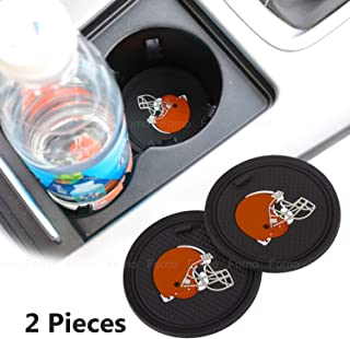 2 Pack 2.75 inch for Cleveland Browns Car Interior Accessories Anti Slip Cup Mat for All Vehicles (Cleveland Browns)