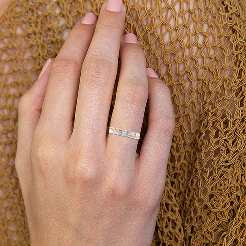 Solitaire Wedding Ring, Vintage Bridal Ring, Round Diamond Ring, Mixed Metal Ring, Women Anniversary Ring, Antique Promise Band, Gift for Wife, 14K Gold