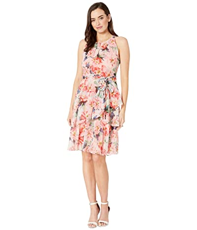 Tahari by ASL Printed Floral Chiffon Ruffle Tiered Halter Dress (Coral Bouquet) Women