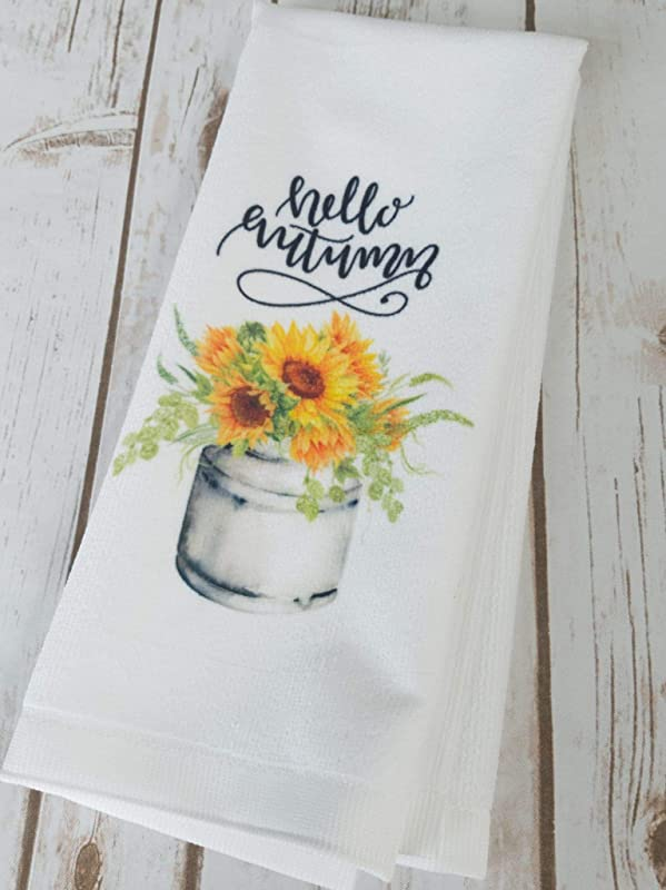 Hello Autumn Kitchen Towel Fall Yellow Sunflower Home Decor