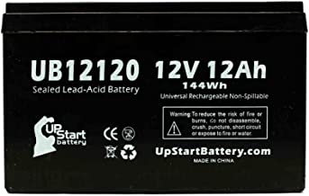 UB12120 Sealed Lead Acid Battery Replacement (12V, 12Ah, 12000mAh, F1 Terminal, AGM, SLA) - Includes Two F1 to F2 Terminal Adapters - Compatible with Fenton Technologies L1400X, Currie XTRS 450