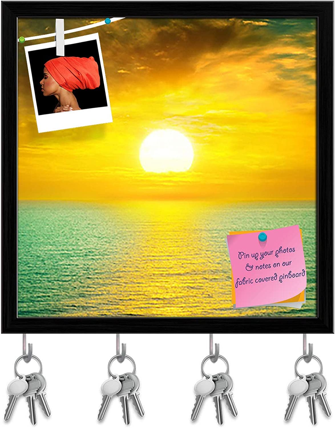 Artzfolio Sunset Above The Sea Key Holder Hooks   Notice Pin Board   Black Frame 20 X 20Inch