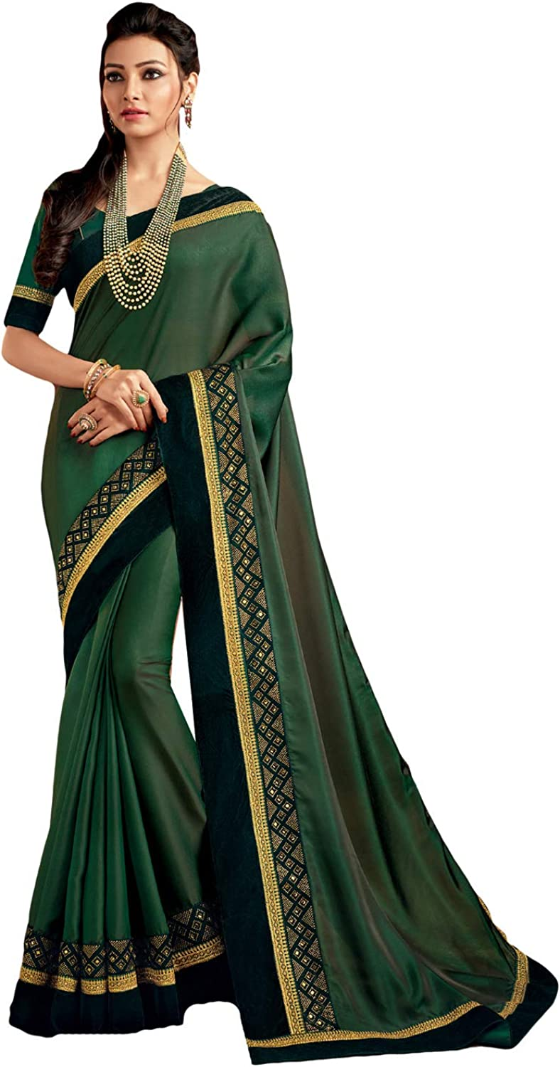 DesiButik's Party Wear Stunning Green Satin Silk Saree