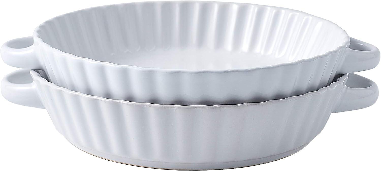 Bruntmor Set Of 2 Modern Ceramic Pie - 9.5 half Inch Tart Pan Ro Cheap mail order shopping
