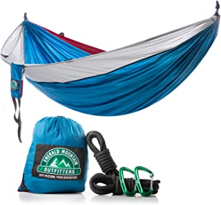 Emerald Mountain 2 Person Camping Hammock - Double Hammock, Parachute Nylon, Snag-Proof Carabiners, 6 Gear Loops - for Outdoor Use, Hiking, Backpacking, Travel, Sleeping, Survival