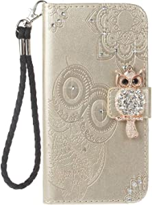 Bear Village  iPhone X iPhone Case  Leather Case with Wrist Strap and Credit Card Slot  Owl Magnetic Closure Shockproof Cover for Apple iPhone X iPhone Xs  Gold