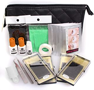 Baisidai Full Professional Eyelash Extensions C Curl Eyelahes Lashes Strip Graft Glue Lint-Free Under Patch Pad Tweezers Cleansing Lotion Tools Case Bag Set (combo 2)
