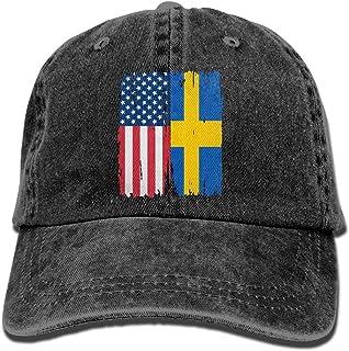 AUCAMP Adult Denim Cap American Swedish Flag