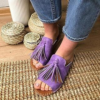 夏のサンダルタッセルレザーサンダルオープントゥバックルシューズレディースファッション夏のヒョウサンダルカットアウトコンフォートフラットスニーカースリップオンウェッジシューズ,紫色,42