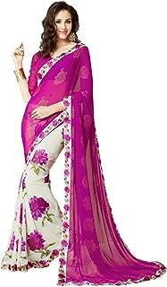 Indian Ethnic Bollywood Saree Party Wear Pakistani Designer Sari Wedding,Pink,Free Size(Unstitched blouse)