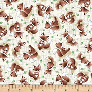 Timeless Treasures Camp Cricket Tossed Fox Fabric, Taupe, Fabric By The Yard