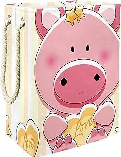 Vockgeng Cochon Rose Etoiles Sac de Rangement Panier de Rangement imperméable Pliable de Jouets de Jouets de Panier avec d...
