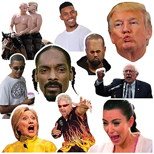 (10 Pack) Funny Celebrity Vinyl Sticker Pack Stickers for Laptop, iPhone, Water Bottles, Computer, and Hydro Flask by RipDesigns