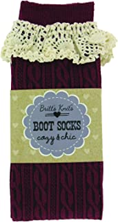 Britt's Knits Boot Socks Cable with Cotton Lace, Burgundy, One Size