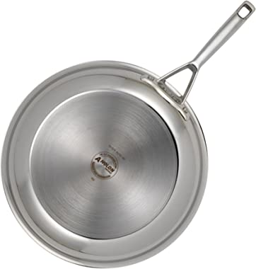 Anolon Triply Clad Stainless Steel Stir Fry Wok Pan, 10.75 Inch, Silver