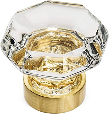 """5 Pack - Cosmas 5268BB-C Brushed Brass Cabinet Hardware Knob with Clear Glass - 1-5/16"""" Diameter"""
