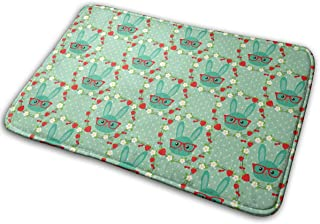 Bath Mat Non Slip Absorbent Super Cozy Smart Bunny in Wreath Flowers and Berries Green Bathroom Rug Carpet (15.7