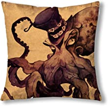 INTERESTPRINT Vintage Fantastic Gothic Octopus Decor Decorative Cushion Pillow Case Cover 18x18 Inch, Square Zippered Pillowcase Protector