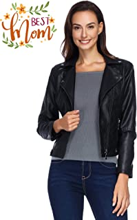 Women's Faux Leather Jacket, Moto Biker Slim Fit Short Coat Jacket for Petite