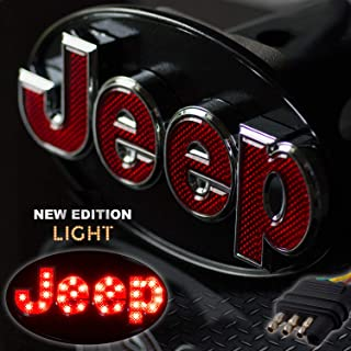 Bosswell Jeep Hitch Cover Licensed LED Light Trailer Towing Hitch Cover Receiver Chrome 6513