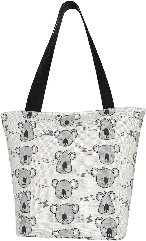 Koala Cartoon Sleeping Grey Themed Printed Women Canvas Handbag Zipper Shoulder Bag Work Booksbag Tote Purse Leisure Hobo Bag For Shopping