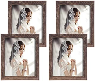 Q.Hou 6 Pack Picture Frames, Rustic Brown Wood Pattern Photo Frame with High Definition Glass for Tabletop or Wall Mountin...