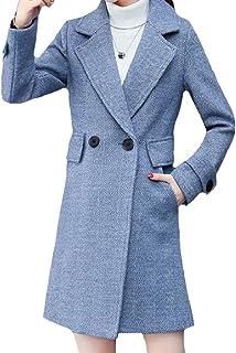معطف Fiere نسائي ناعم مريح ذو طية صدر مشقوقة من مزيج الصوف الأنيق مزدوج الصدر