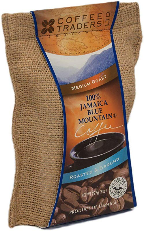 Coffee Traders One Hundred Percent Jamaica Blue Mountain Coffee With Certificate Of Origin Medium Roasted And Ground 8 Ounce Bag
