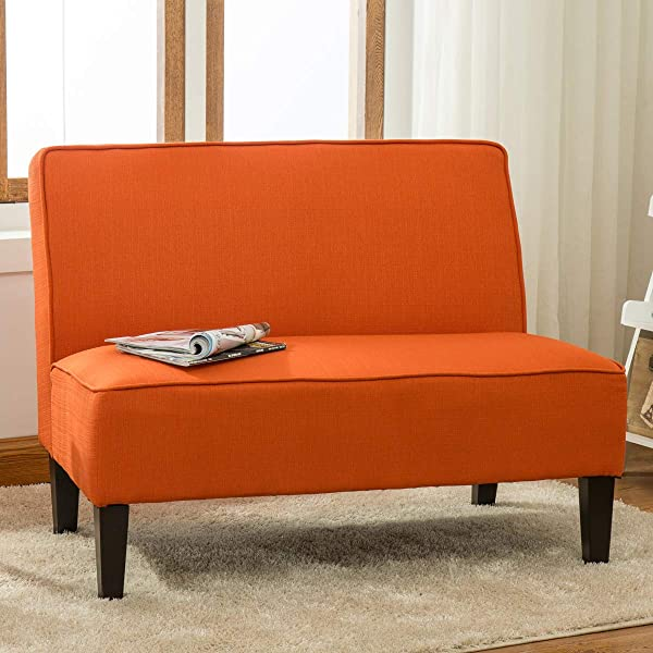 YongQiang Living Room Settee Loveseat Sofa Cushioned Upholstered Linen Casual Couch With Wood Legs Orange