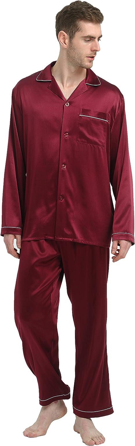 Jasmine Silk Pijama de seda pura para hombre color burdeos ...