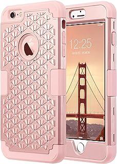 ULAK iPhone 6S Plus Caso Funda Case Carcasa Cubierta de la Caja del silicón de Shell 3 Capa híbrida Prueba de Golpes Duro para el iPhone 6s Plus/iPhone 6 Plus 5,5 Pulgadas (Oro Rosa Bling)