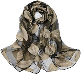 Ayli Women's Flora Leaf Organza Scarf Long Shawl Lightweight Fashion Wrap