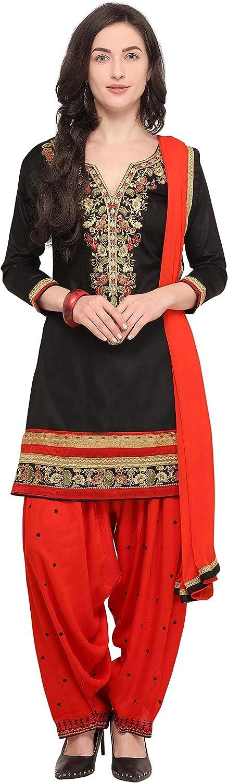 Rajnandini Women's Cotton Embroidered Patiala Dress Material(JOPLAO507_Black_Free Size)