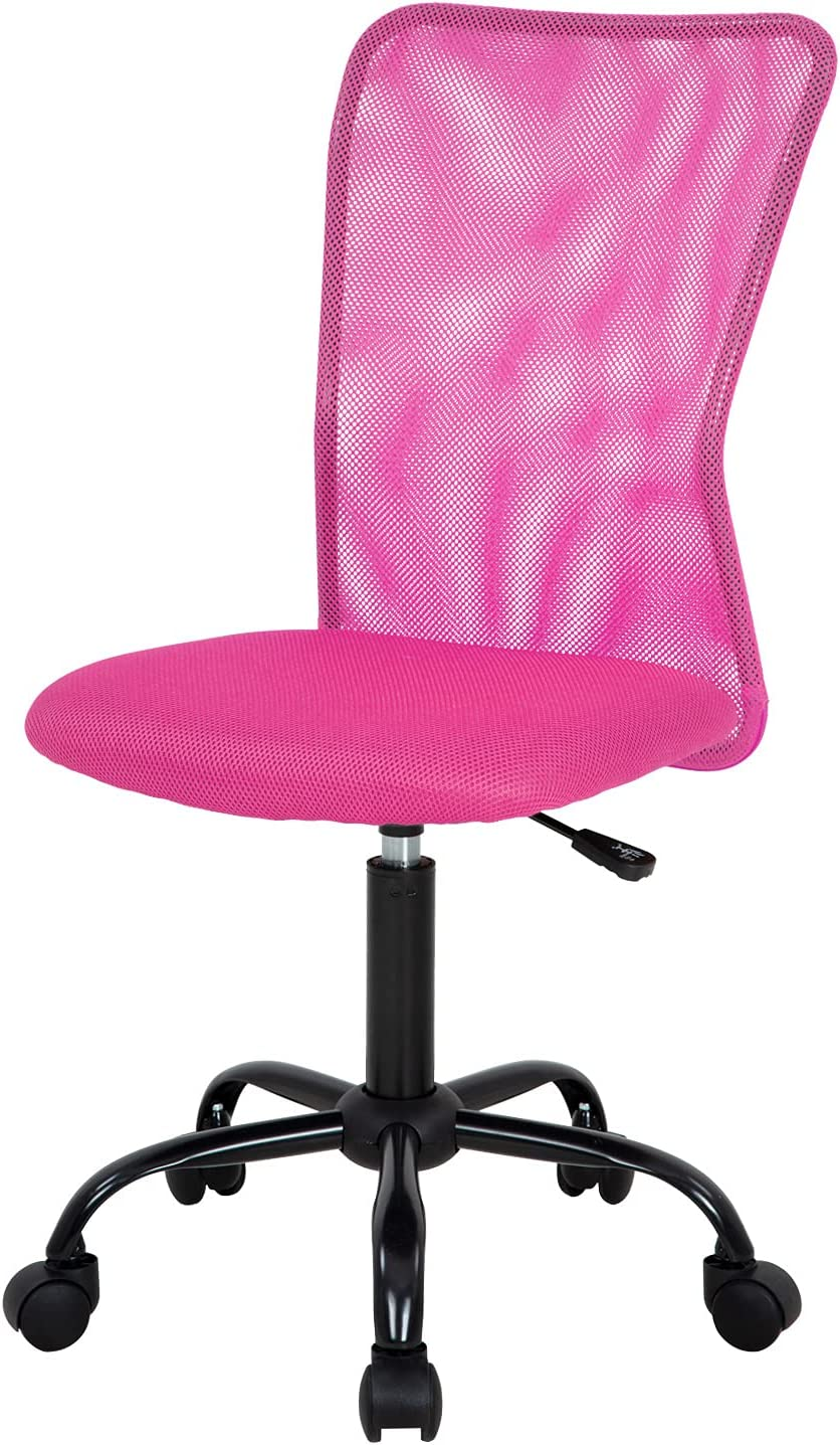 Home Office Chair Mid Back Mesh Desk Chair Armless Computer Chair Ergonomic Task Rolling Swivel Chair Back Support Adjustable Modern Chair with Lumbar Support (Pink)