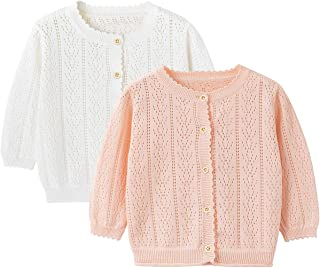 Baby Girl Thin Sweater Solid White Pink Cardigans for Toddler 0-5Years