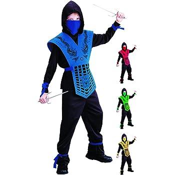 Foxxeo Disfraz de Ninja Negro Azul para niños Disfraz de Ninja ...