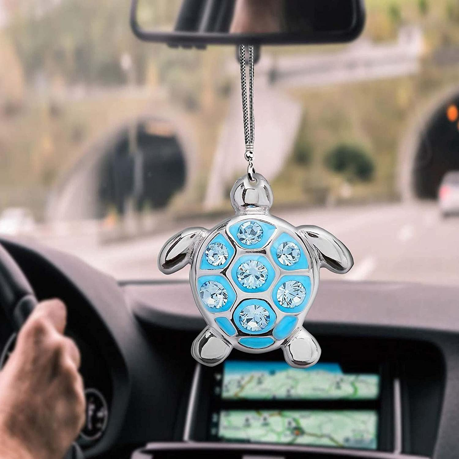 Sea Turtle Silver and Diamond - Room Ornament Ornam Hanging Car Los Angeles Mall New life