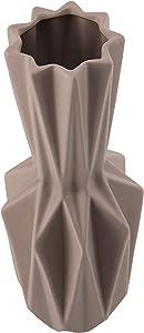 Home Decor Studio Geometrico Grigio Vaso Alto 40cm–Splendido Moderno Vaso in Ceramica, Adatta per Soggiorno, Cucina, casa, Ufficio, Tavolo Ornamento, Matrimonio, Center Piece o Come Regalo