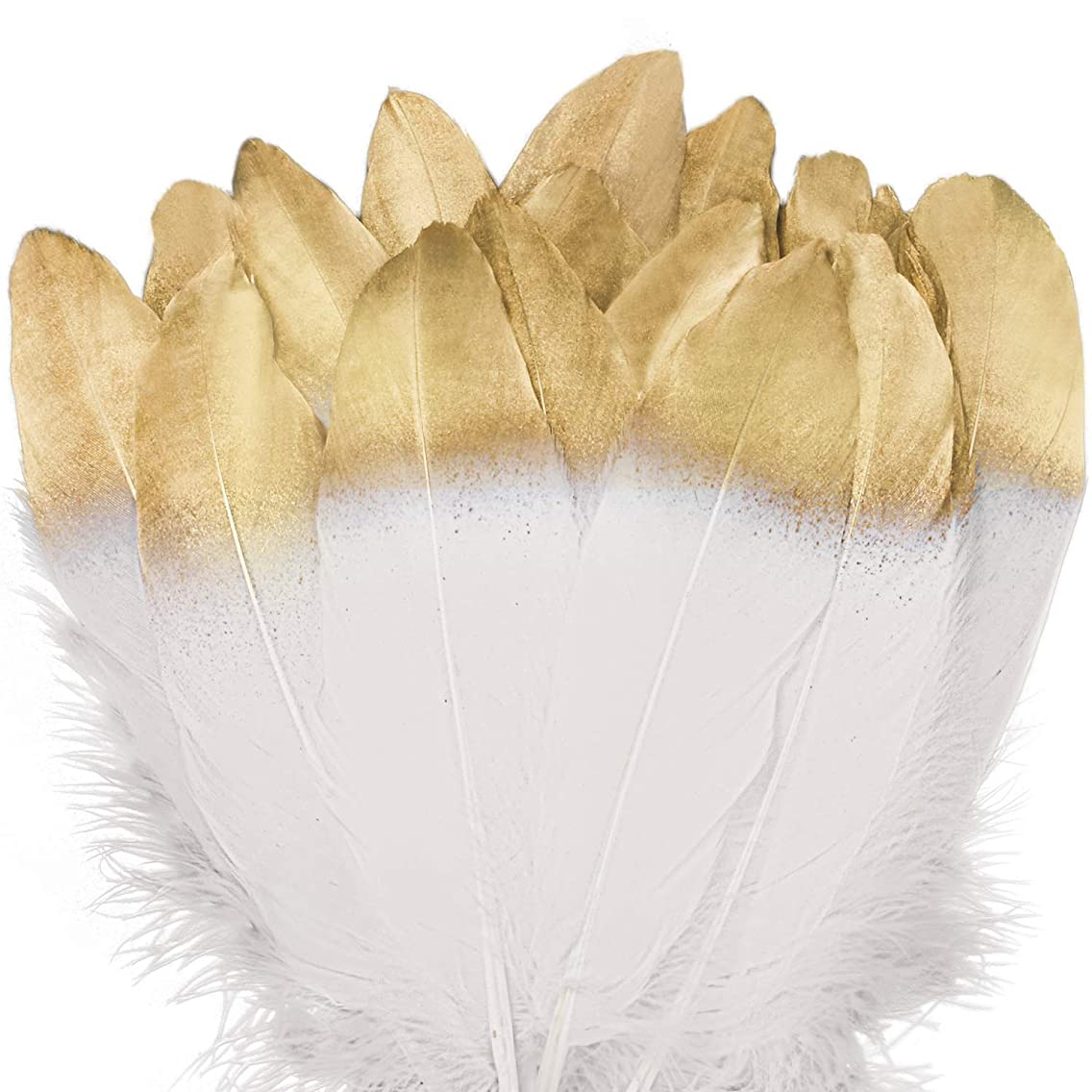 WELLGO 50 Pcs Gold Dipped White Glitter Feather Goose Real Feather Christmas Decoration Natural Craft Art Soft Native Feather Accessories for Christmas, DIY, Party, Wedding, Dream Catcher (50pcs)
