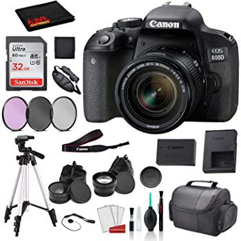 Canon EOS 800D (Rebel T7i) 18-55mm is STM Lens (Black) Bundle SanDisk 32gb SD Card + 3PC Filter Kit + More - International Model
